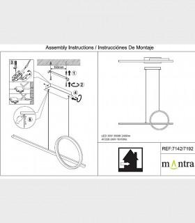 Instrucciones de montaje Lámpara colgante KITESURF LED 30W Negro 7142 Mantra