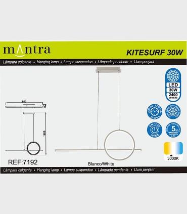 Características Lámpara colgante KITESURF LED 30W Blanco 7192 Mantra