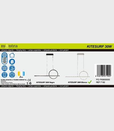 Especificaciones Lámpara colgante KITESURF LED 30W Blanco 7192 Mantra