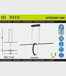 Características Lámpara colgante KITESURF LED 30W Negro 7143 Mantra
