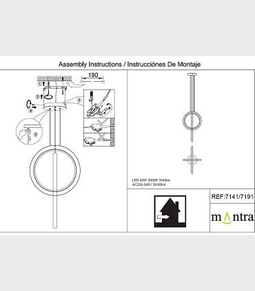 Instrucciones de montaje Lámpara colgante KITESURF LED 48W Negro 7141 Mantra