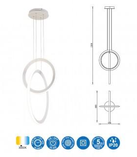 Medidas Lámpara colgante KITESURF LED 48W Blanco 7191 Mantra
