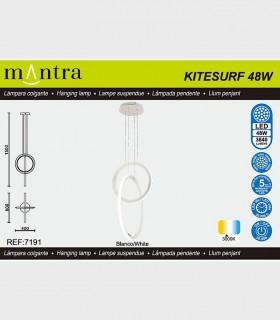 Características Lámpara colgante KITESURF LED 48W Blanco 7191 Mantra