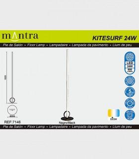Características Lámpara de pie KITESURF LED 24W Negro 7146 Mantra