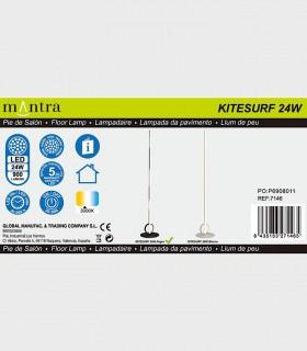 Especificaciones Lámpara de pie KITESURF LED 24W Negro 7146 Mantra
