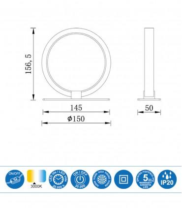 Medidas Lámpara de mesa KITESURF LED 8W Blanco 7195 Mantra