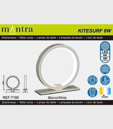 Características Lámpara de mesa KITESURF LED 8W Blanco 7195 Mantra
