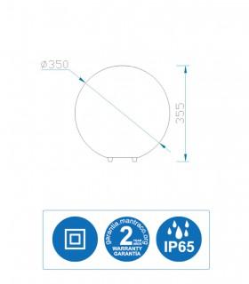 Medidas Lámpara Bola Exterior Blanca Avoriaz IP65 ø35cm E27 1388 Mantra