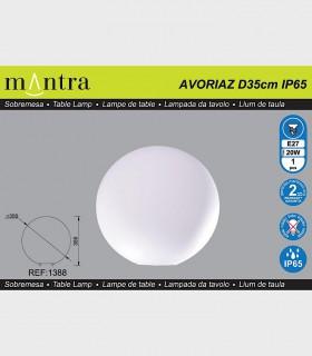 Características Lámpara Bola Exterior Blanca Avoriaz IP65 ø35cm E27 1388 Mantra