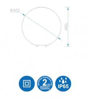Medidas Lámpara Bola Exterior Blanca Avoriaz IP65 ø40cm E27 1391 Mantra