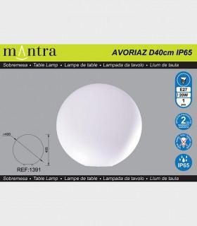 Características Lámpara Bola Exterior Blanca Avoriaz IP65 ø40cm E27 1391 Mantra