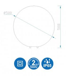 Medidas Lámpara Bola Grande Exterior Blanca Avoriaz IP65 ø50cm E27 1394 Mantra