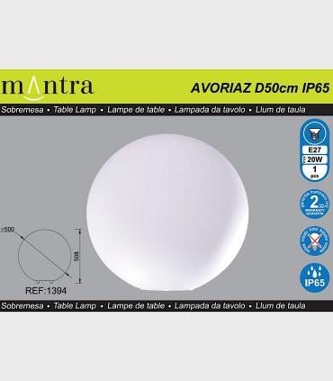 Características Lámpara Bola Grande Exterior Blanca Avoriaz IP65 ø50cm E27 1394 Mantra