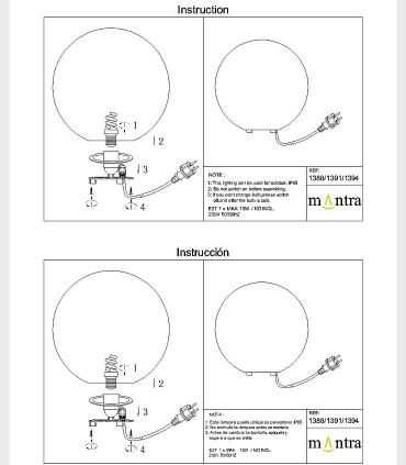 Instrucciones de montaje Lámpara Bola Grande Exterior Blanca Avoriaz IP65 ø50cm E27 1394 Mantra