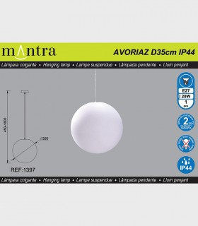 Características Lámpara Colgante Exterior Bola Blanca Avoriaz IP44 ø35cm E27 1397 Mantra