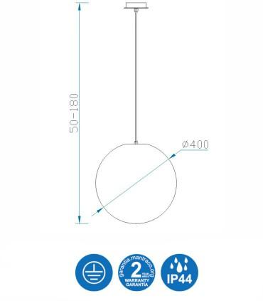Medidas Lámpara Colgante Exterior Bola Blanca Avoriaz IP44 ø40cm E27 1398 Mantra