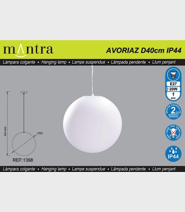Características Lámpara Colgante Exterior Bola Blanca Avoriaz IP44 ø40cm E27 1398 Mantra