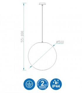 Medidas Lámpara Colgante Exterior Bola Blanca Avoriaz IP44 ø50cm E27 1399 Mantra