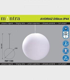 Características Lámpara Colgante Exterior Bola Blanca Avoriaz IP44 ø50cm E27 1399 Mantra