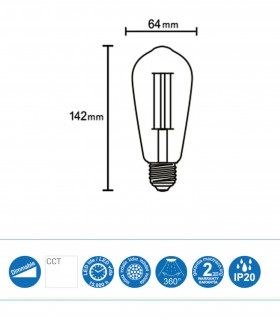 Bombilla regulable Led VINTAGE E-27 8W 640Lm ST64 Dimmable R09206 Mantra