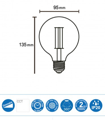 Bombilla Led Globo VINTAGE E-27 8W 640Lm G95 Dimmable - Mantra