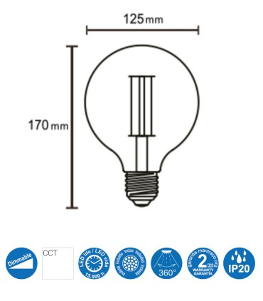 Bombilla Led Globo VINTAGE E-27 8W 640Lm G125 Dimmable - Mantra R09205