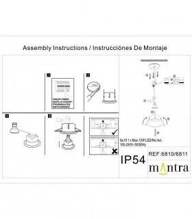Instrucciones de montaje COMFORT GU10 IP54 Negro Mate Redondo 6811 Mantra