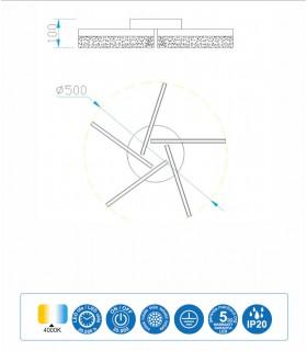 Plafón Burbuja led 30W,  5792 Mantra, dimensiones