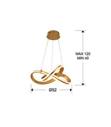 Medidas lámpara Lazas pan de oro.