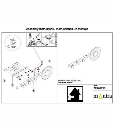 Instrucciones de montajeAplique perchero Venus 6W 7293 Negro Mantra