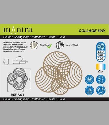 Características Plafón Collage Oro 60W 3000K 4500lm 7231 Mantra