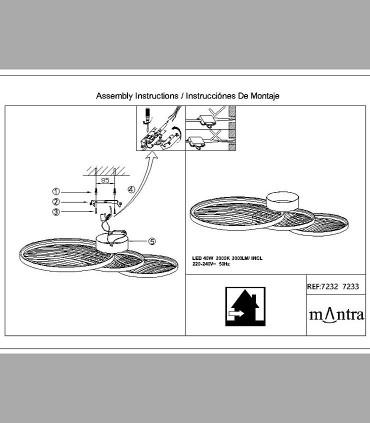 Instrucciones de montaje Plafón Collage Negro 40W 3000K 3000lm 7232 Mantra