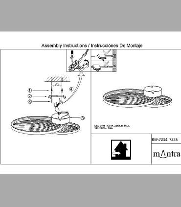 Instrucciones de montaje Plafón Collage Oro 30W 3000K 2250lm 7235 Mantra