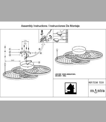 Instrucciones de montaje Plafón Collage Oro 60W 3000K 4500lm 7231 Mantra