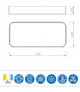 Medidas Plafón led CUMBUCO 5501 73x32cm 50w 3750lm Mantra