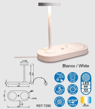 Características Lámpara de sobemesa con cargador de inducción Ceres blanco 7290 Mantra