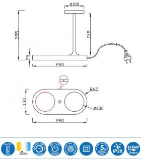 Dimensiones Lámpara de sobremesa con cargador de inducción y USB Ceres negro 7291 Mantra