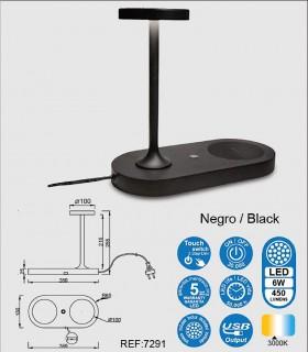 Características Lámpara de sobremesa con cargador de inducción y USB Ceres negro 7291 Mantra