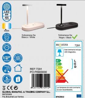 Colección Lámpara de sobremesa con cargador de inducción y USB Ceres negro 7291 Mantra