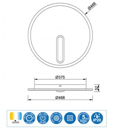 Medidas Plafón-Aplique Clock 40W 4000K 6671 Mantra