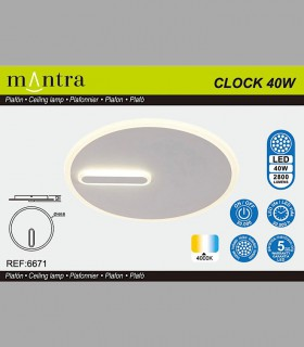 Características Plafón-Aplique Clock 40W 4000K 6671 Mantra