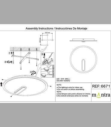 Instrucciones de montaje Plafón-Aplique Clock 40W 4000K 6671 Mantra