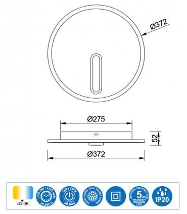 Dimensiones Plafón-Aplique Clock 30W 4000K 6670 Mantra