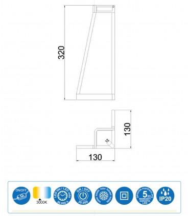 Dimensiones Lámpara de mesa  Minimal Blanco 7280 Mantra
