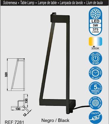 Características Lámpara de mesa Minimal Negro 7281 Mantra