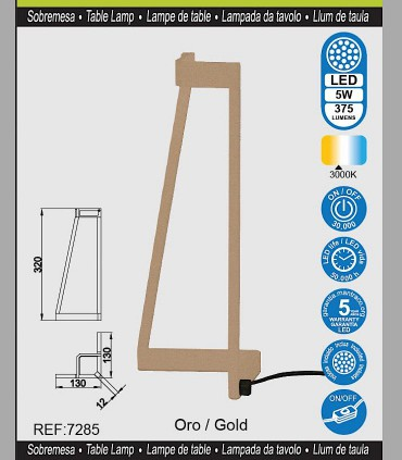 Características Lámpara de mesa Led Minimal Oro 7285 Mantra