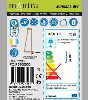 Detalles técnicos Lámpara de mesa Minimal Oro 7285 Mantra