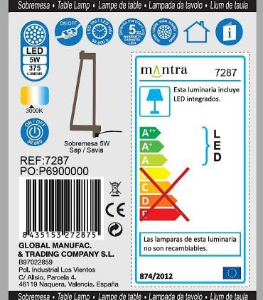 Detalles técnicos Lámpara de mesa Minimal Savia 7287 Mantra