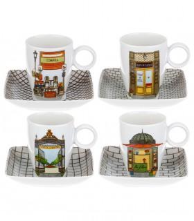 Conjunto 4 tazas de café con plato Vista Alegre Alma de Madrid