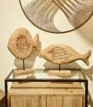 Imagen de ambiente Escultura Pez Madera Alto combinado con pez madera bajo